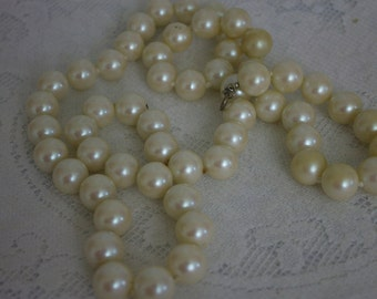Vintage Long and Large Faux Pearl Necklace