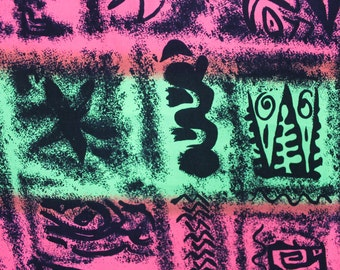 Vintage Bright Fabric African Motif