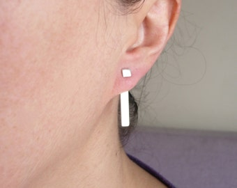 sterling silver ear jackets bars earrings