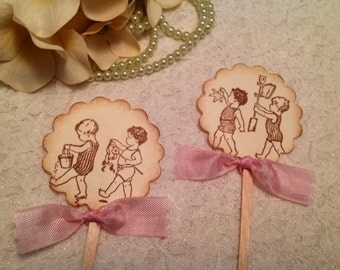 Baby Shower Cupcake Toppers-Vintage Children-Beach Toppers and Picks-Tropical Events-Birthday Cupcake Toppers set of 12