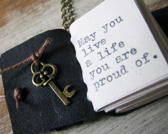 book necklace inspirational jewelry miniature book journal with f scott fitzgerald quote live a life you are proud of handstitched  journal