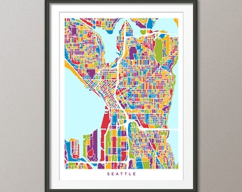 Seattle Map, Seattle Washington City Street Map, Art Print (1353)