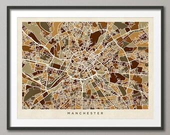Manchester Map, Manchester England City Street Map, Art Print (1371)