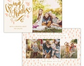 INSTANT DOWNLOAD - Thanksgiving Photo Card Photoshop template - E1150