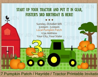 Pumpkin Patch / Tractor / Hayride Printable Birthday Invitation