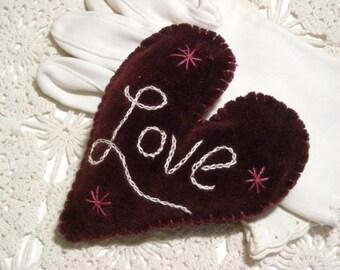 Vintage Velvet Hand Enbroideried French Lavender Filled Sachet/Valentine Sachet /French Lavender