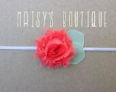 75% Off  Mini Watermelon Red Shabby Flower Headband/ Newborn Headband/ Baby Headband/ Flower Girl/ Wedding/ Photo Prop