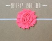 75% Off- Neon Pink Shabby Flower Headband/ Newborn Headband/ Baby Headband/ Photo Prop