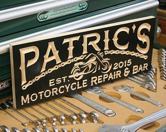 Custom Sign, Guy Gift, Motorcycle Sign, Man Cave Sign, Carved Wood Sign, Biker Sign, Personalized Sign, Benchmark Signs Maple BK