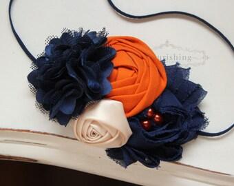 Navy, Orange and Cream flower headband, blue and orange headbands, newborn headband, photography prop, fall headbands
