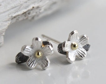 Silver Cherry Blossom Earrings-floral studs-botanical earrings-tiny flower studs-tiny silver earrings