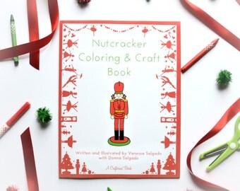 Nutcracker Coloring & Craft Book by Crafterina - Holiday Present - Ballet Themed - Christmas Gift - Children - Clara - Sugarplum