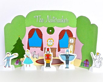 Nutcracker Party Scene Playtime Tableau PDF Set - Printable -  - Puppet - Theater - Paper Goods - Toy - Children - Ballet