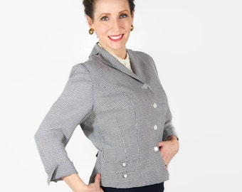 50s Jacket, Nipped Waist, Checked, Black and White, Jameshire
