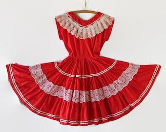 60s Dress, Bettina, Rockabilly, Red, Swing, Square Dance, Circle Skirt