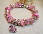 Pink Heart Bracelet, Pink Valentines Bracelet, Pink European Style Bracelet, Hot Pink Bracelet, Gifts for Her
