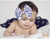 White & Navy Blue Damask Like Floral Fabric Bow Skinny Headband - Newborn Infant Baby Toddler Girls Adult Wedding