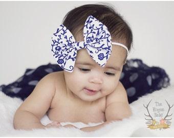 White & Navy Blue Damask Like Floral Fabric Bow Skinny Headband - Newborn Infant Baby Toddler Girls Adult Wedding
