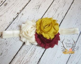 Cream Mustard Yellow Burgundy Fall Headband -  Baby Newborn Infant Photo Prop Toddlers Girls Women Maroon Leaves Autumn