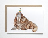 Walrus Birthday Card. Walrus With A Party Hat. Walrus Watercolor Greeting Card. Cute Walrus Birthday Card. Walrus Greeting Card.