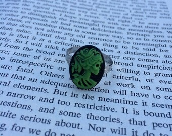 Green On Black Lady Skull Lolita Cameo Ring - Silver (Adjustable)