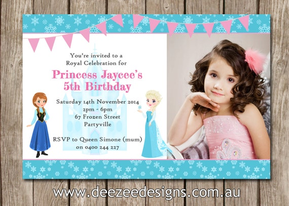 Frozen Themed Photo Personalised Birthday Invitations YOU - Birthday invitation frozen theme