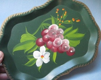 Vintage Green Painted Floral and Fruit Tole Tin Tray