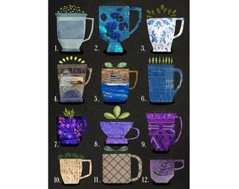 large art print coffee and tea, coffee and tea art, mixed media print coffee and tea, collage coffee and tea, coffee and tea variations 3