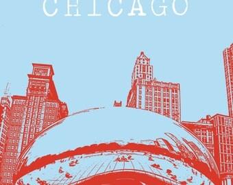 "8x10 Print Chicago Cloud Gate ""The Bean"" at Millenium Park"
