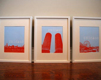3 Chicago Prints - Chicago Skyline, Marina Towers, Navy Pier - Size: 8x10