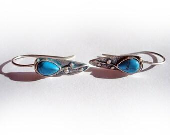 Small Silver Earrings.Natural Turquoise Earrings. Teardrop-Shaped Earrings.100% handmade and artistic work.
