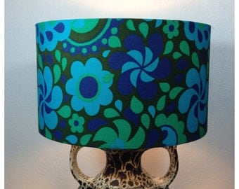 Large Lamp Shade Handmade From Original Vintage Psychedelic Fabric