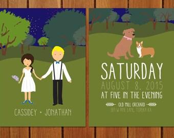 Custom Illustrated Orchard Wedding Invitation