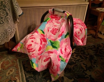 Car seat canopy/blanket made with Lilly Pulitzer fabric