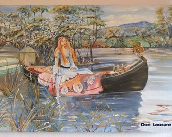 Lady of Shallot, Reproduction Oil Painting, Lady in Boat, Original Reproduction Oil, Gallery Edges, Dan Leasure