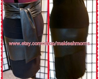 Black Leather Pencil Skirt Black Leather Belt Black Pencil Skirt Black Skirt Leather Skirt Pencil Skirt Belted Pencil Skirt High Waist Skirt