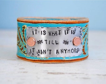 Painted Leather Cuff