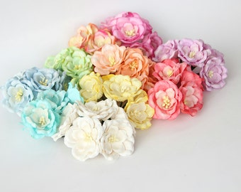 50 pcs - Mixed colors Magnolia - Big poppy paper flowers - Wholesale pack
