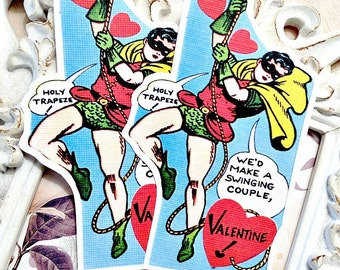 Robin Valentine Gift Tags (6) Retro Valentine Card-Classroom Valentine-Superhero Valentine-Treat Tags-Valentine for Kids-Favor Tags-Die Cut
