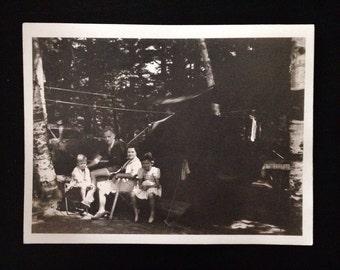 Original Antique Photograph Campsite Under Nightfall
