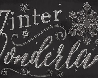 Chalkboard Winter sign, Winter Wonderland, Chalkboard Sign, Chalk snowflakes sign, Winter holiday sign, Two sizes Available