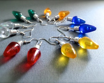Christmas Lights Dangle Earrings. Colorful. You Choose. Blue. Red. Yellow. Green. Christmas. Gift. Holiday. Festive. Under 10 Dollar. Sale.