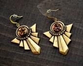 Art-Deco Brass Earrings with Faux Druzy