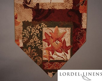 Fall Table Runner with beautiful fall leaves in rich fall colors and metallic gold accents