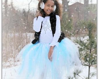 Youth - Teen - Frozen Tutu - Long Aqua Tutu Skirt - Wedding - Ballet - Photo Shoot