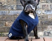 Boys Fleece French Bulldog Pug Sweater Vest - Navy Blue