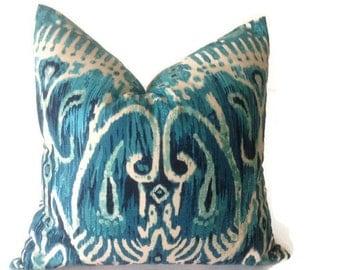 Turquoise Pillow  Duralee--Ikat Decorative, Blue  ikat   Pillows Cover  Decorative Throw Pillows Designer Fabric Blue  Pillows, Ikat Pillows