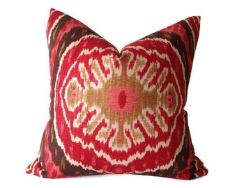 Pillows, Red Pillows, Red ikat Pillows,Throw Pillows,One  Decorative  Pillow Cover, Red Pillow, Duralee Pillow,   invisible Zipper Closure