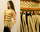 Rare 1960s/1970s Festival Ready Handwoven Macrame Vest with Fired Glass and Clay Beads