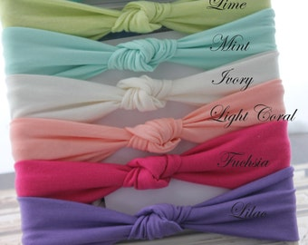 Sweet soft jersey knot single top knot headbands Spring collection